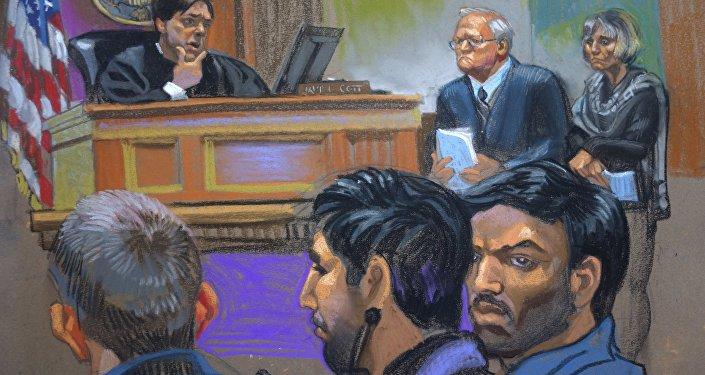 Croquis del juicio de Efraín Antonio Campo Flores y Francisco Flores de Freitas