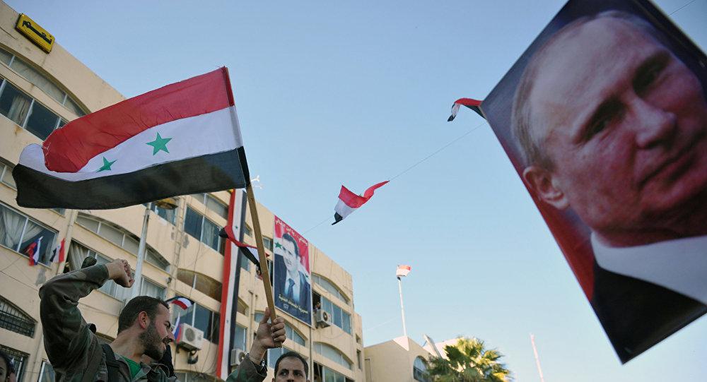Manifestación a favor de la operación rusa en Siria (archivo)