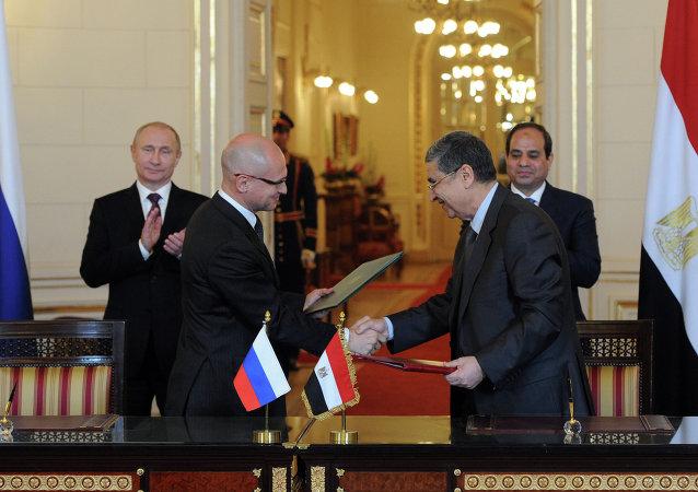 Delegaciones oficiales de Rusia y Egipto firman un convenio sobre el Desarrollo del Proyecto de Construcción de una Central Nuclear en febrero 2015