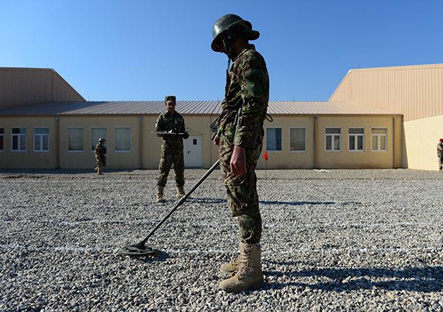 Soldados afganos usan un detector de minas