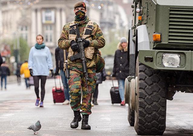 Soldado belga en el centro de Bruselas (archivo)