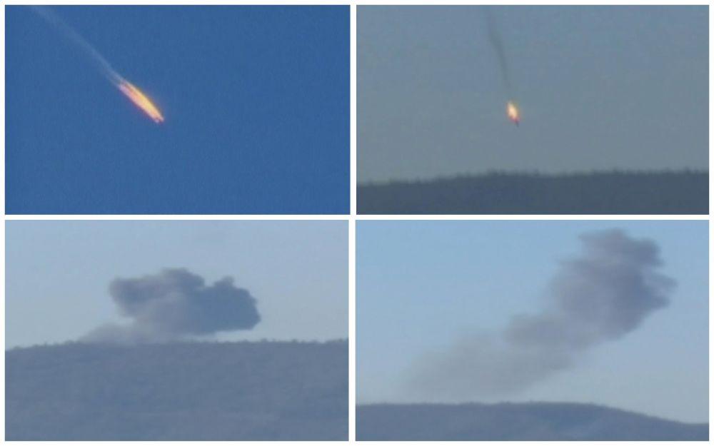 Кадры падения подбитого российского самолета Су-24 на границе Сирии и Турции