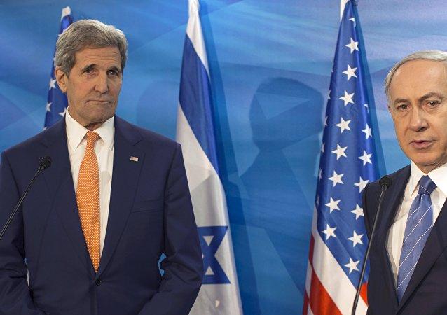 Secretario de Estado de EEUU, John Kerry y primer ministro de Israel, Benjamín Netanyahu durante un encuentro en Jerusalén (archivo)