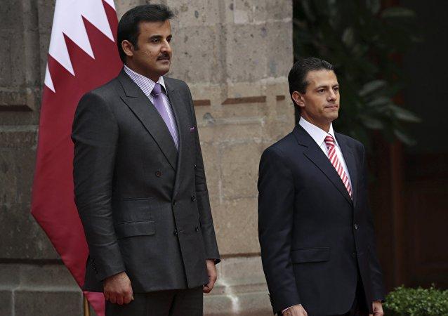 Presidente de México Enrique Peña y emir de Catar, jeque Tamim bin Hamad al Thani