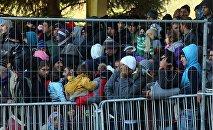 Refugiados en la frontera austriaca