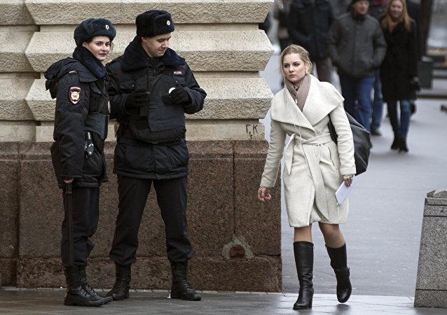 Policías en el centro de Moscú