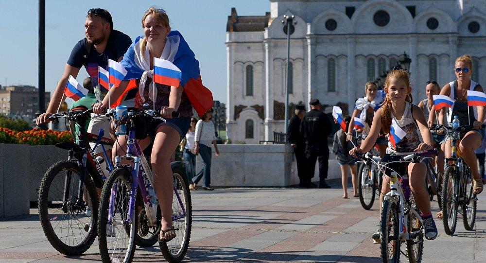Los rusos celebran el Día de la bandera nacional de Rusia (Archivo)