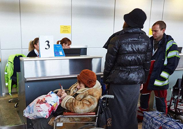 Control de pasaportes en el aeropuerto de Járkov