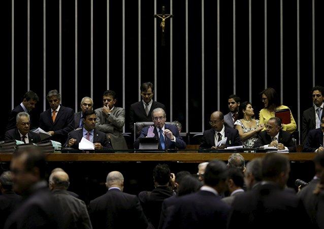 Eduardo Cunha, presidente de la Cámara de Diputados de Brasil (centro)