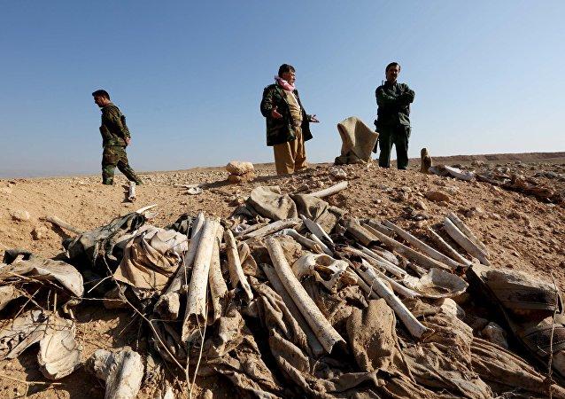 Fosa común en las afueras de Sinjar, Irak