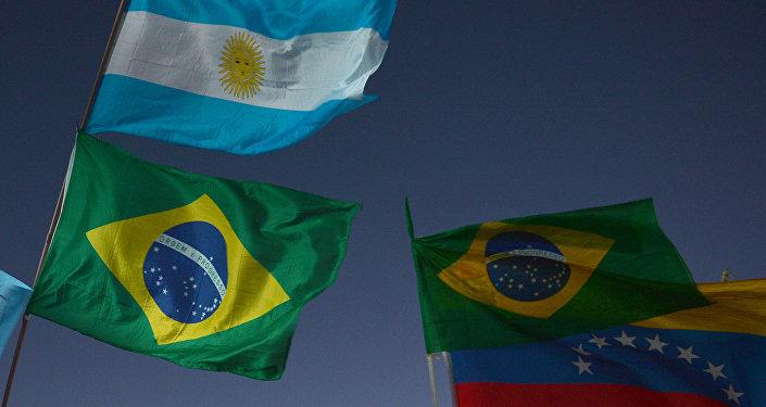 Banderas de Argentina y Brasil