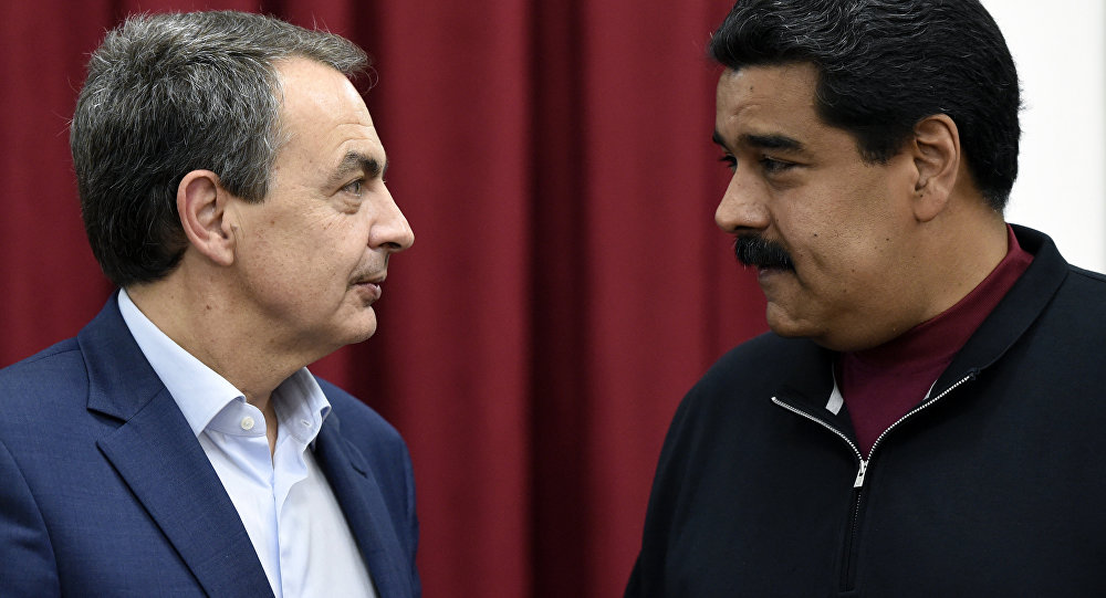 Expresidente del Gobierno de España, José Luis Rodríguez Zapatero, y presidente de Venezuela, Nicolás Maduro (archivo)