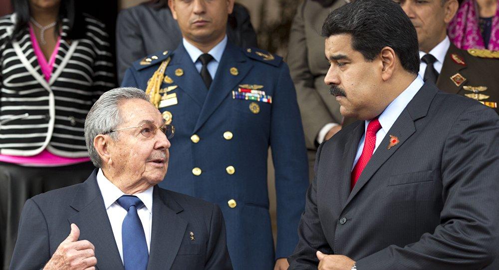 Presidente de Cuba, Raúl Castro y presidente de Venezuela, Nicolás Maduro