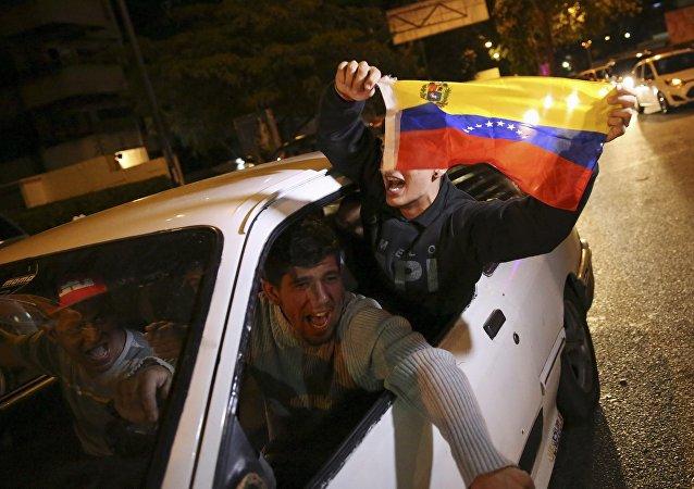 Partidarios de la coalición opositora MUD en Caracas
