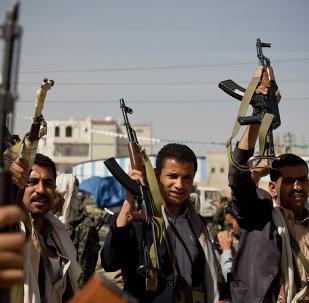 Milicianos hutíes en Yemen
