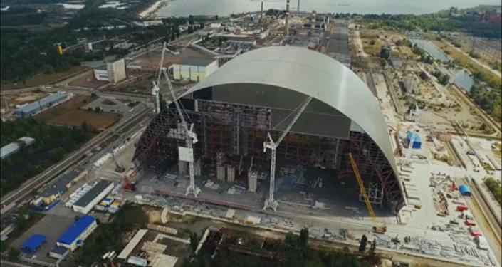 El segundo sarcófago de Chernóbil, a vista de dron