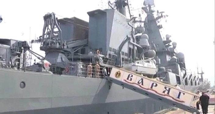 Buques de guerra rusos atracan en la bahía de Bengala