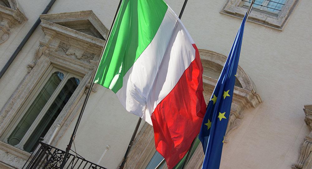 Banderas de Italia y la EU