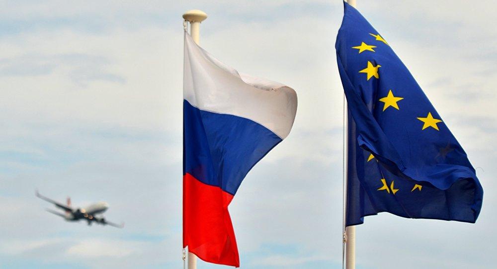 Banderas de Rusia y la UE
