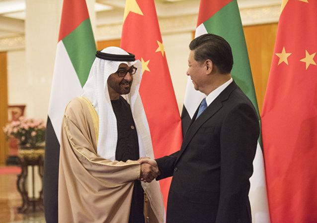 El Príncipe heredero de Abu Dabi, Mohamed bin Zayed Al Nahyan, y el presidente de China, Xi Jinping