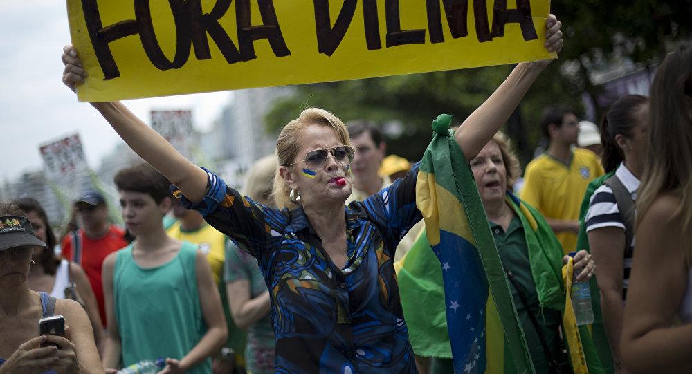 Manifestación de protesta en Río de Janeiro