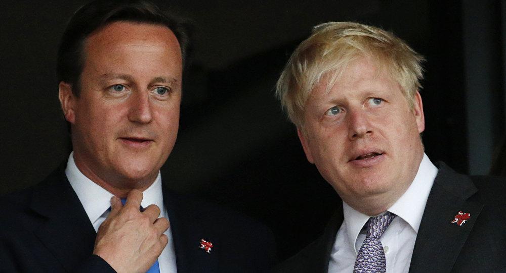 Primer ministro de Reino Unido, David Cameron, y el ex alcalde de Londres, Boris Johnson