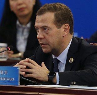 Dmitri Medvédev, el primer ministro ruso, durante la reunión del Consejo de Jefes de Gobierno de la Organización de Cooperación de Shanghái