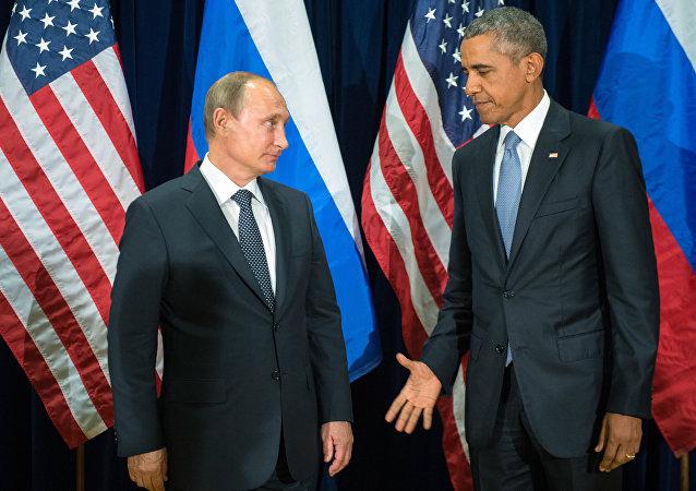 El presidente de Rusia Vladímir Putin y Barack Obama, el presidente de EEUU en la 70 sesión de la Asamblea General de la ONU