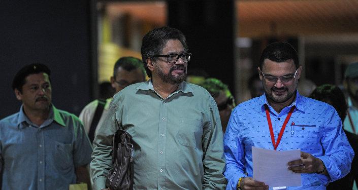 Iván Márquez, miembro del Secretariado de las FARC, durante las negociaciones de paz con el gobierno de Colombia