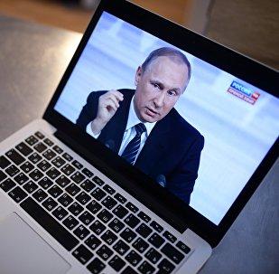 Una imagen de Vladímir Putin, presidente de Rusia, en la pantalla de laptop