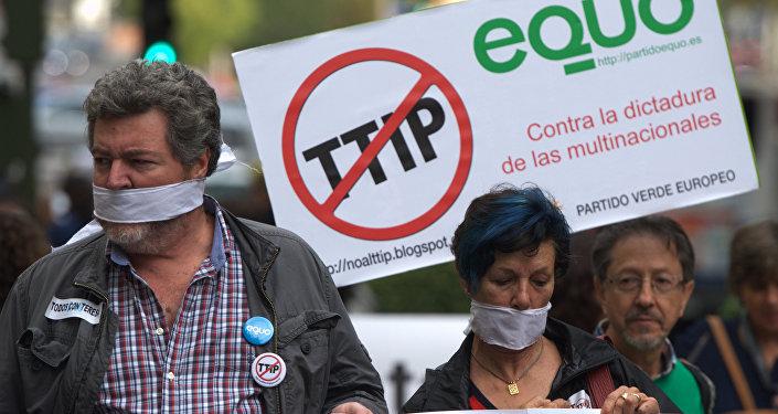 Protestas en Madrid contra el TTIP