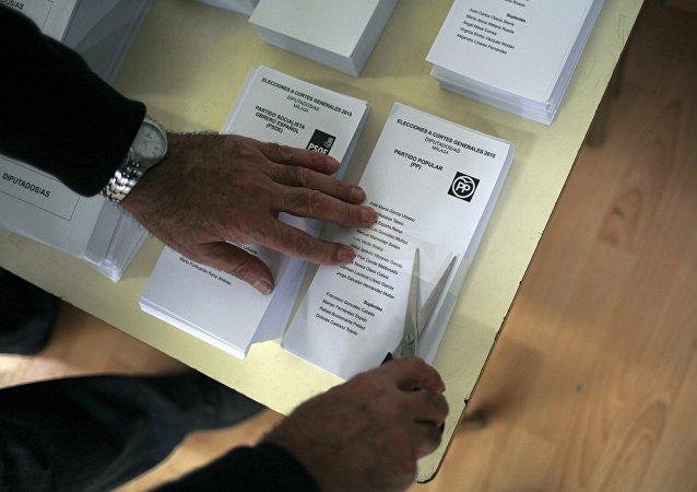Un colegio electoral en Ronda, España