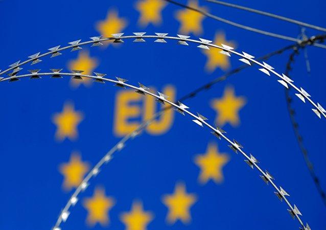 Signo en la frontera de la UE en Slovenia