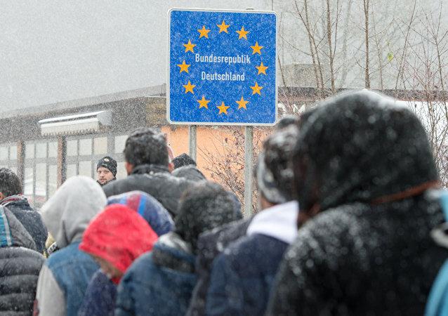 Refugiados en la frontera alemano-austriaca