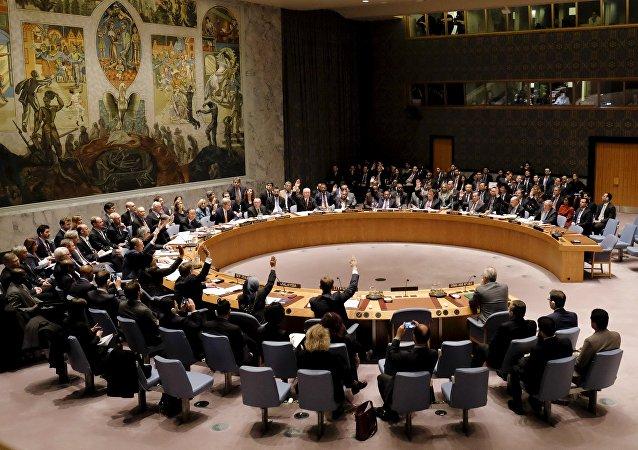Miembros del Consejo de seguridad de la ONU en la sede en Manhattan, Nueva York