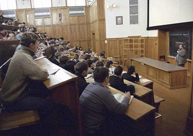 Clase en una universidad en Rusia