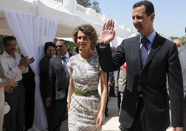 Bashar Asad, presidente de Siria, con su esposa