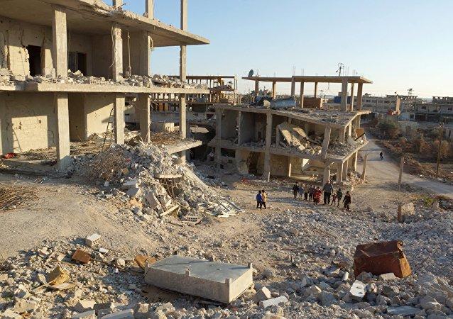 Edificios destruidos en Naemeh, Siria