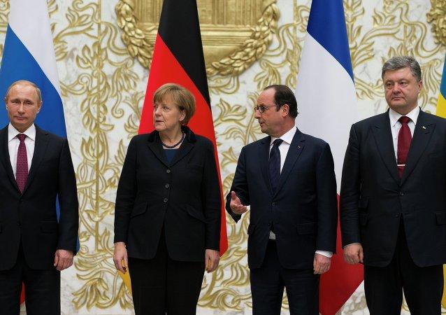 Vladímir Putin, Angela Merkel, François Hollande y Petró Poroshenko (archivo)