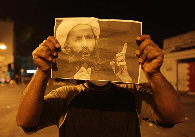 Manifestación de protesta tras la ejecución del clérigo chií Nimr al Nimr
