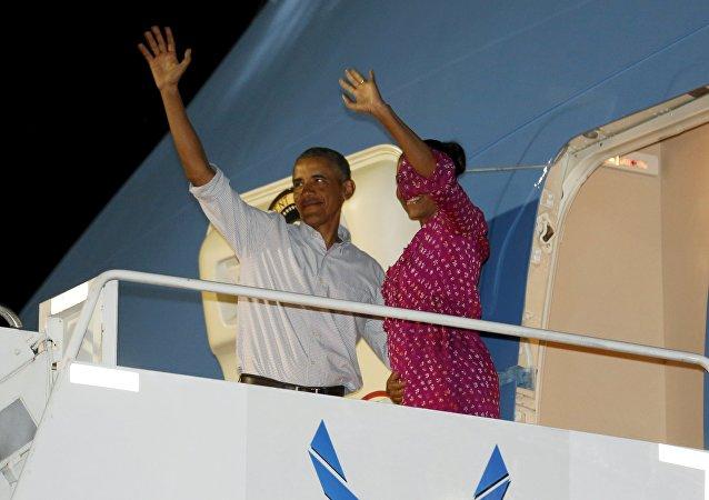 Barack Obama, presidente de EEUU, con la primera dama Michelle Obama