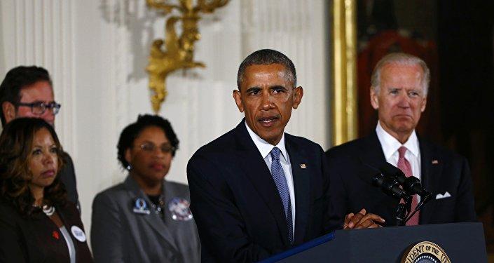 Presidente de EEUU, Barack Obama, durante el discurso sobre control de armas