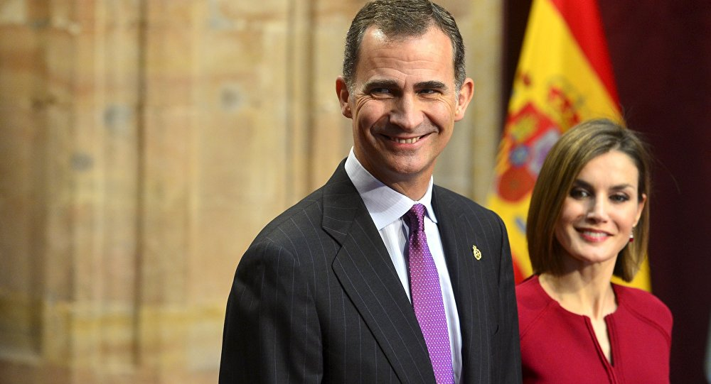 Spain's Crown Prince Felipe and Queen Letizia at the 2015 Princess of Asturias Awards ceremony
