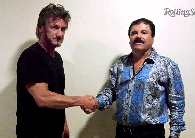 Actor y director de cine Sean Penn y capo del narcotráfico Joaquín Guzmán, alias El Chapo