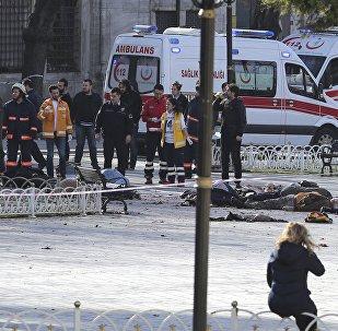Lugar de la explosión en el centro de Estambul