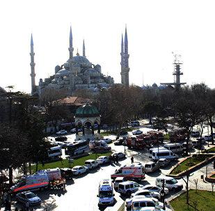 Turístico distrito de Sultanahmet en Estambul
