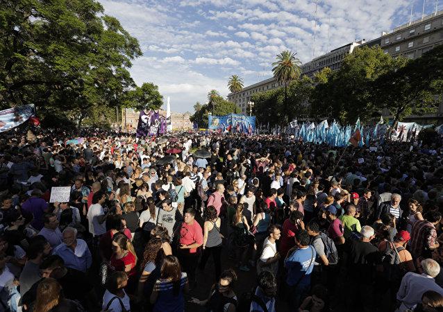 Manifestación de protesta en la Plaza de Mayo, Buenos Aires (archivo)