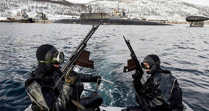 Las fuerzas submarinas de dicha flota entraron en acción contra supuestos terroristas. En uno de los puestos de mando se efectuó el primer entrenamiento del 2016. En el ejercicio tomaron parte diferentes unidades.