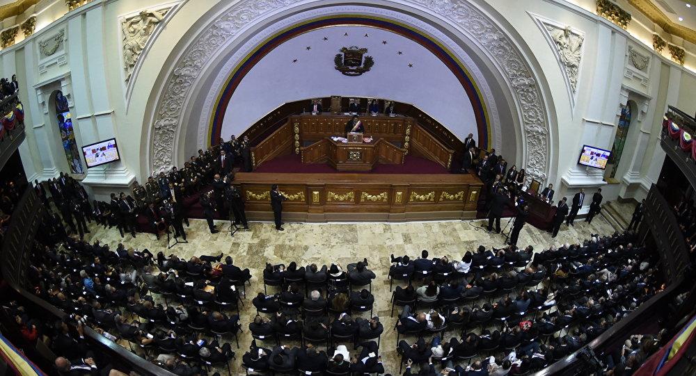 Presidente de Venezuela, Nicolás Maduro durante su discurso en la Asamblea Nacional
