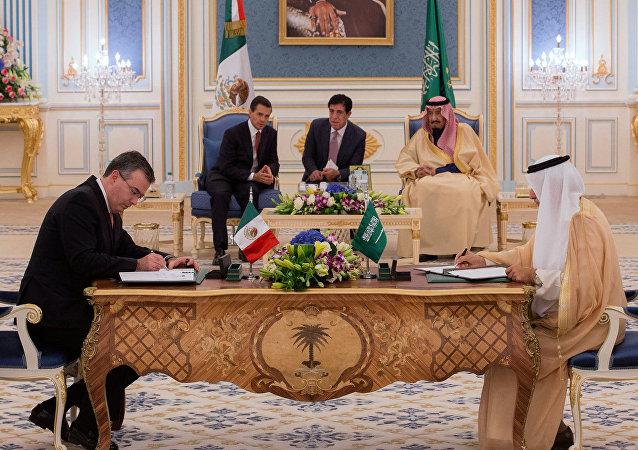 Presidente de México, Enrique Peña, y Rey de Arabia Saudí, Salman Bin Abdulaziz Al-Saud